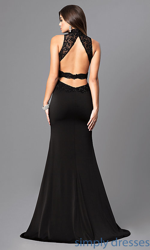 Image of open-back long prom dress with beaded embroidery. Style: FB-GL2225 Back Image