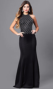 Image of long formal prom dress with beaded halter. Style: FB-GL2285 Front Image