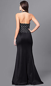 Image of long formal prom dress with beaded halter. Style: FB-GL2285 Back Image
