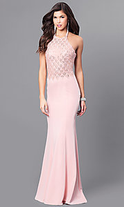 Image of long formal prom dress with beaded halter. Style: FB-GL2285 Detail Image 2