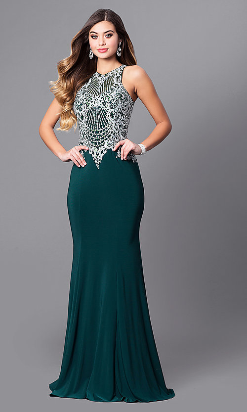 Image of embroidered-bodice long prom dress with high neck. Style: FB-GL2232 Front Image