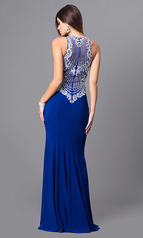 Image of embroidered-bodice long prom dress with high neck. Style: FB-GL2232 Back Image