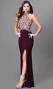 Image of eggplant purple long prom dress with beaded bodice.  Style: FB-GL2282 Front Image