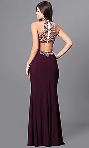Image of eggplant purple long prom dress with beaded bodice.  Style: FB-GL2282 Back Image