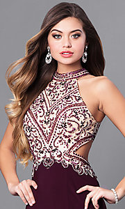 Image of eggplant purple long prom dress with beaded bodice.  Style: FB-GL2282 Detail Image 1