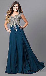 Image of cap-sleeve long prom dress with embroidered bodice.  Style: FB-GL2229 Detail Image 1