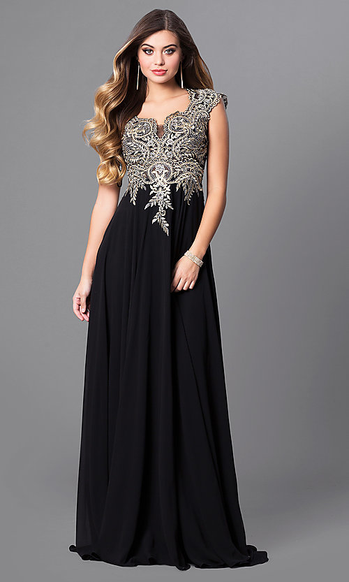 Image of cap-sleeve long prom dress with embroidered bodice.  Style: FB-GL2229 Detail Image 3
