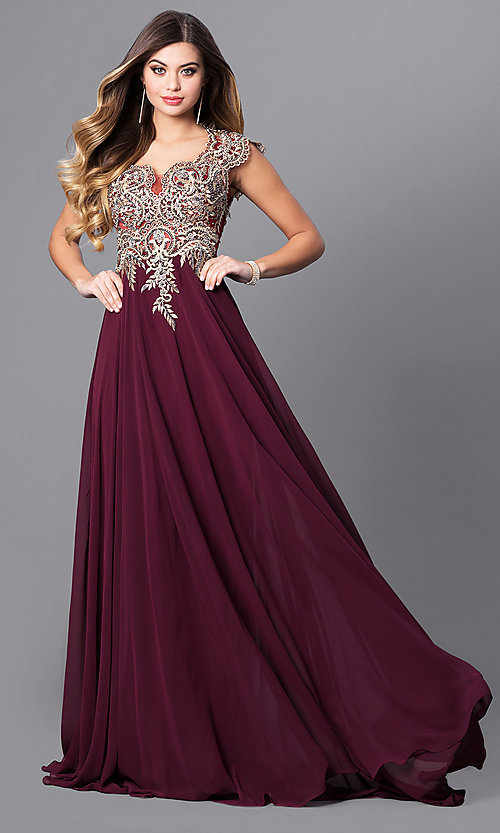 Image of cap-sleeve long prom dress with embroidered bodice.  Style: FB-GL2229 Front Image