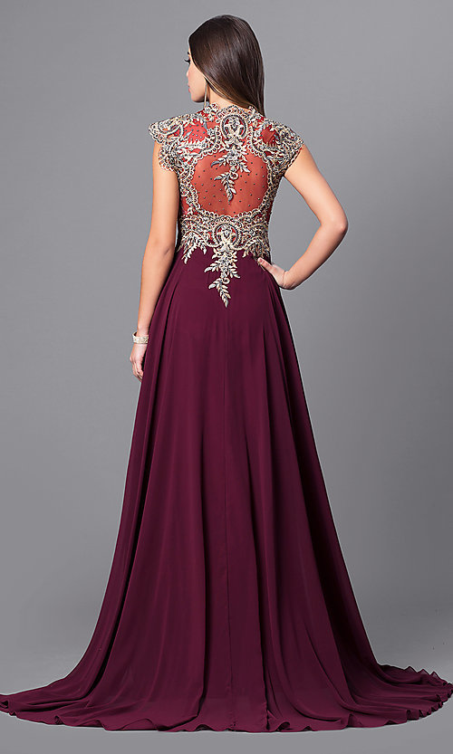 Image of cap-sleeve long prom dress with embroidered bodice.  Style: FB-GL2229 Back Image