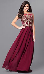 Image of long formal prom dress with metallic-lace applique. Style: FB-GL2316 Front Image