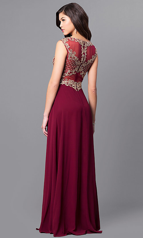 Image of long formal prom dress with metallic-lace applique. Style: FB-GL2316 Back Image