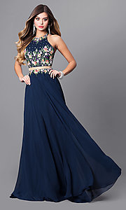 Image of navy blue mock two-piece long prom dress. Style: FB-GL2340 Front Image