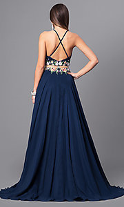Image of navy blue mock two-piece long prom dress. Style: FB-GL2340 Back Image