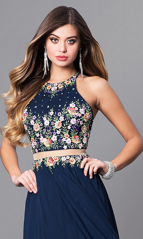 Image of navy blue mock two-piece long prom dress. Style: FB-GL2340 Detail Image 1
