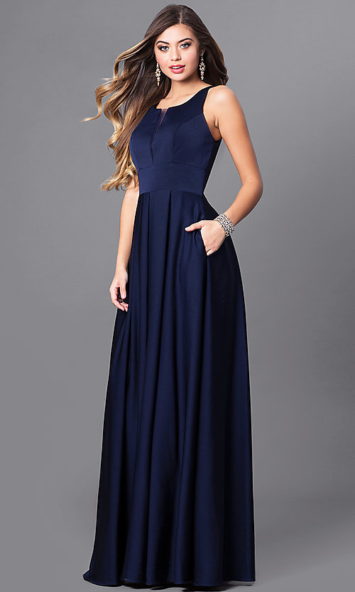 Formal Long Bridesmaid Dress with Pockets