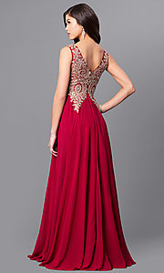 Image of v-neck long prom dress with beaded-lace applique. Style: FB-GL2311 Back Image