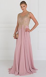 Image of v-neck long prom dress with beaded-lace applique. Style: FB-GL2311 Detail Image 2