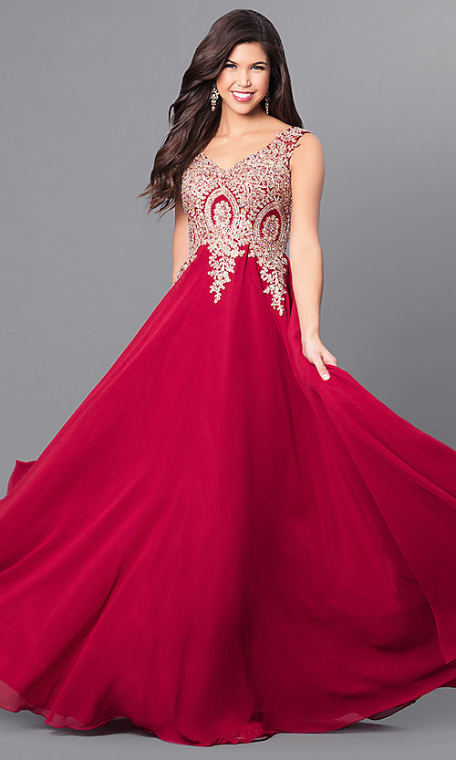 Image of v-neck long prom dress with beaded-lace applique. Style: FB-GL2311 Detail Image 1