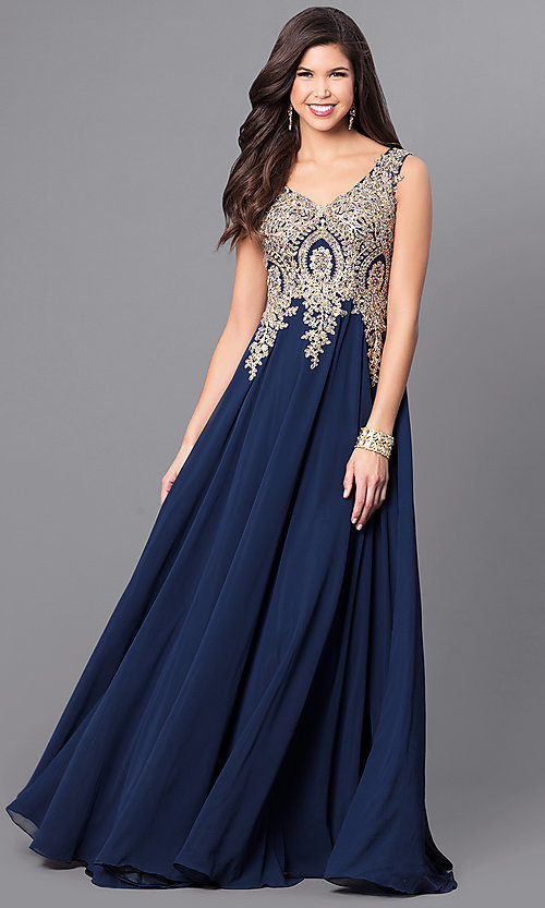Image of v-neck long prom dress with beaded-lace applique. Style: FB-GL2311 Detail Image 3