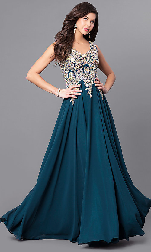Image of v-neck long prom dress with beaded-lace applique. Style: FB-GL2311 Front Image