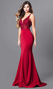 Image of formal long prom dress with embroidered bodice. Style: FB-GL2372 Front Image