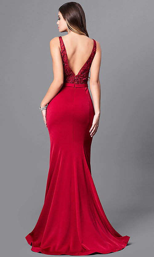 Image of formal long prom dress with embroidered bodice. Style: FB-GL2372 Back Image
