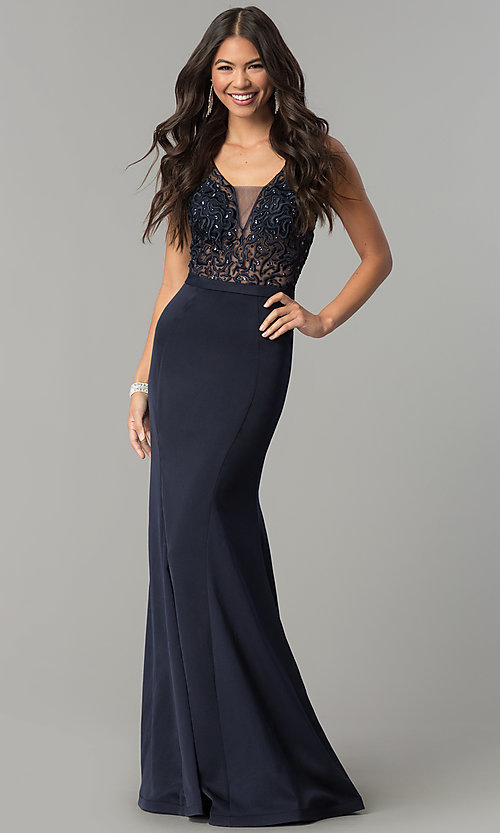 Image of formal long prom dress with embroidered bodice. Style: FB-GL2372 Detail Image 2