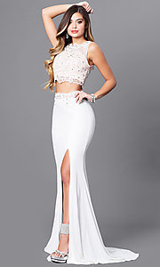 Image of two-piece long ivory prom dress with beaded lace. Style: FB-GL2373 Front Image