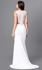 Image of two-piece long ivory prom dress with beaded lace. Style: FB-GL2373 Back Image