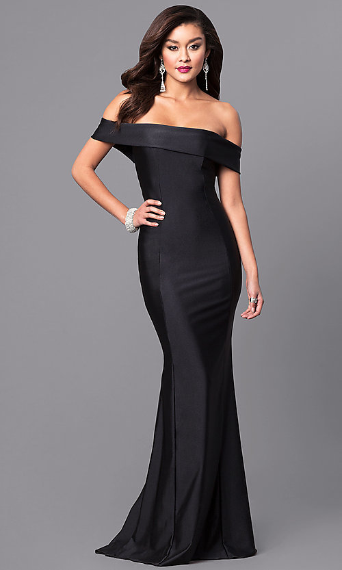 Image of long off-the-shoulder military ball gown with train. Style: AT-L5080 Detail Image 1