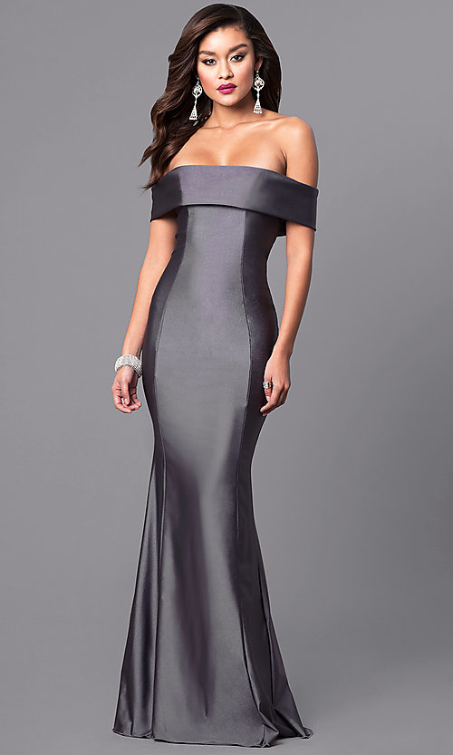Image of long off-the-shoulder military ball gown with train. Style: AT-L5080 Detail Image 2
