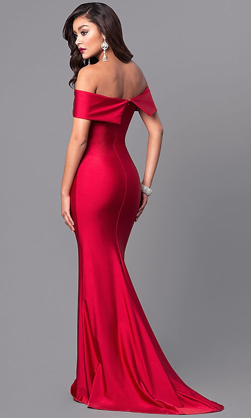 Image of long off-the-shoulder military ball gown with train. Style: AT-L5080 Back Image