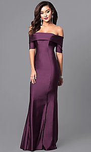 Image of formal long prom dress with off-the-shoulder sleeves. Style: AT-L5081 Detail Image 1