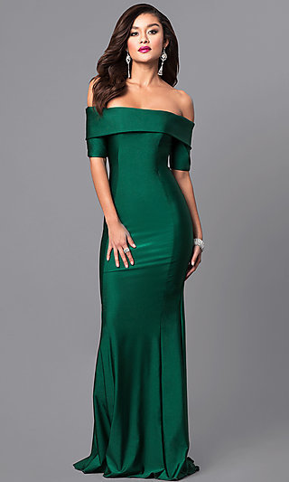 Formal Long Prom Dress with Off-the-Shoulder Sleeves