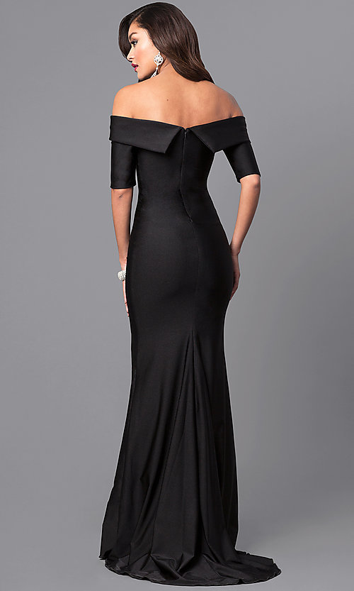 Image of formal long prom dress with off-the-shoulder sleeves. Style: AT-L5081 Back Image