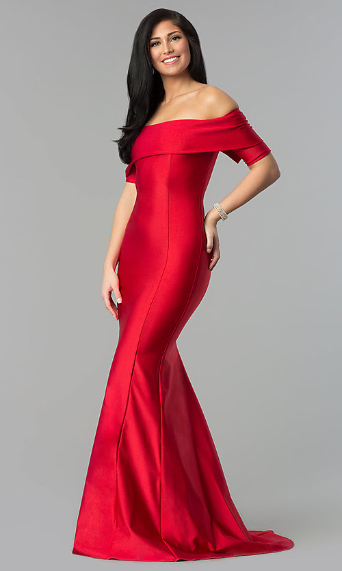 Image of formal long prom dress with off-the-shoulder sleeves. Style: AT-L5081 Front Image