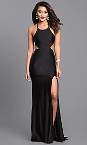 Image of long formal prom dress with laced open back. Style: AT-L5067 Detail Image 1