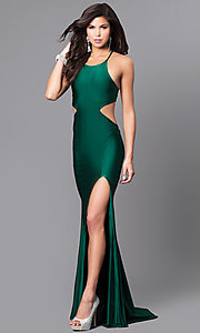 Image of long formal prom dress with laced open back. Style: AT-L5067 Front Image