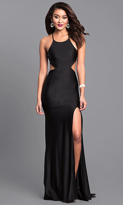 Image of long formal prom dress with laced open back. Style: AT-L5067 Detail Image 2