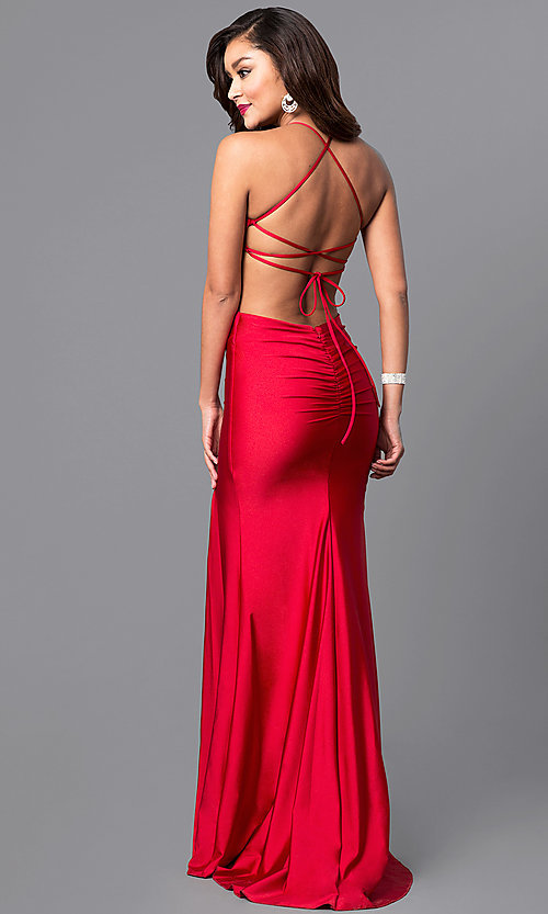 Image of long formal prom dress with laced open back. Style: AT-L5067 Back Image