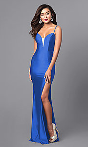 Image of formal long prom dress with spaghetti straps. Style: AT-L5061 Detail Image 3