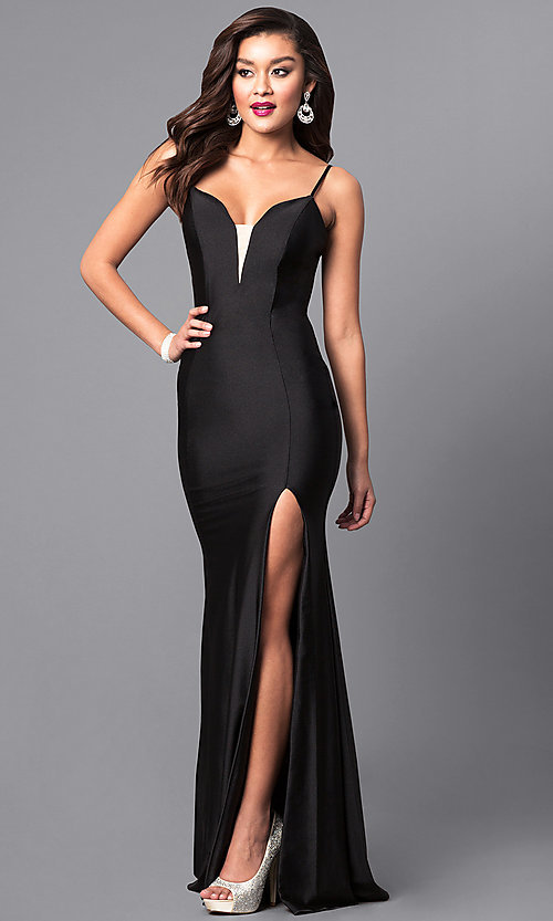 Image of formal long prom dress with spaghetti straps. Style: AT-L5061 Detail Image 2