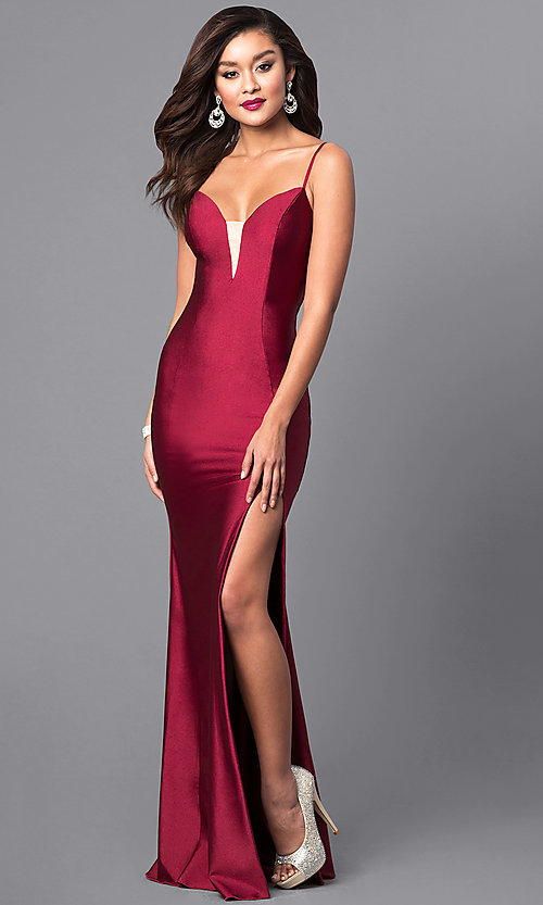 Image of formal long prom dress with spaghetti straps. Style: AT-L5061 Front Image