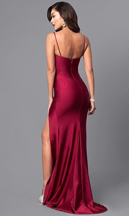 Image of formal long prom dress with spaghetti straps. Style: AT-L5061 Back Image