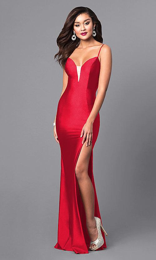 Image of formal long prom dress with spaghetti straps. Style: AT-L5061 Detail Image 1