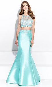 Image of Madison James two-piece mermaid-style prom dress. Style: NM-17-212 Detail Image 1