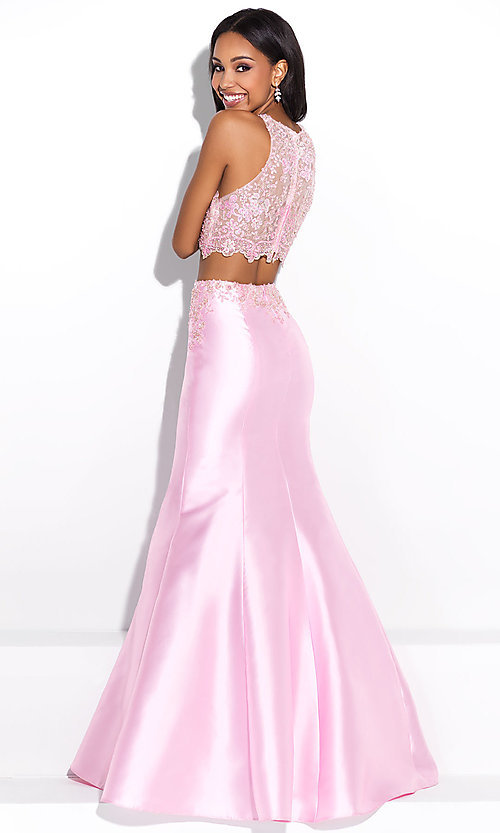 Image of Madison James two-piece mermaid-style prom dress. Style: NM-17-212 Back Image
