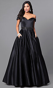 Image of satin long prom dress with off-the-shoulder sleeves. Style: PO-7936 Front Image