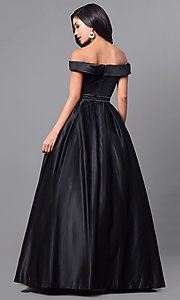 Image of satin long prom dress with off-the-shoulder sleeves. Style: PO-7936 Back Image