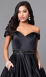 Image of satin long prom dress with off-the-shoulder sleeves. Style: PO-7936 Detail Image 1